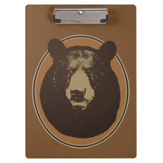 Mounted Taxidermy Bear Head Graphic Clipboard