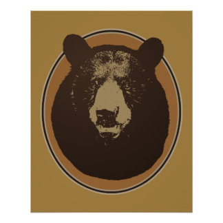 Mounted Taxidermy Bear Head Graphic Poster
