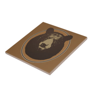 Mounted Taxidermy Bear Head Graphic Tile