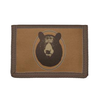 Mounted Taxidermy Bear Head Graphic Tri-fold Wallets