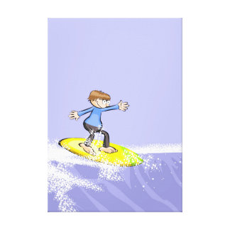 Mounted young surf in a great wave canvas print