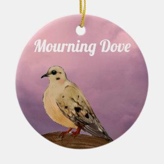 Mourning Dove Backyard Bird on Branch Ceramic Ornament