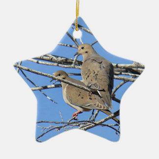 Mourning Dove Bird Pair Ceramic Ornament