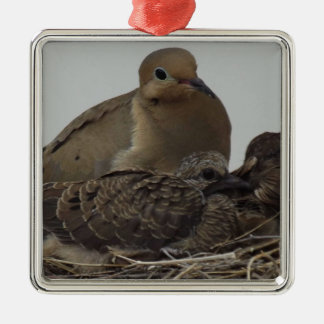 Mourning Dove Family Metal Ornament