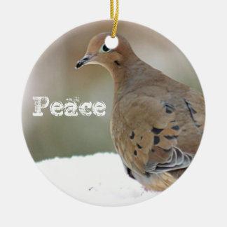 Mourning dove round ceramic ornament