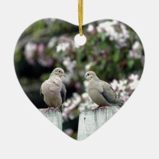 Mourning Doves Ceramic Heart Ornament