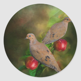Mourning Doves on the Apple Tree - Painting Classic Round Sticker