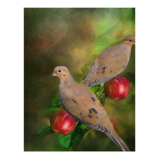 Mourning Doves on the Apple Tree - Painting Letterhead