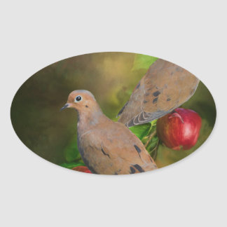 Mourning Doves on the Apple Tree - Painting Oval Sticker