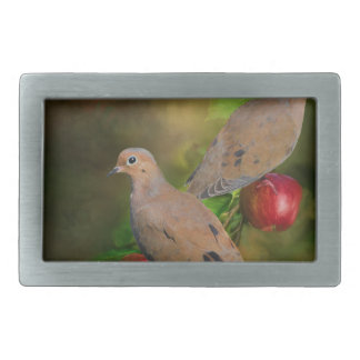 Mourning Doves on the Apple Tree - Painting Rectangular Belt Buckle