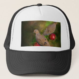 Mourning Doves on the Apple Tree - Painting Trucker Hat