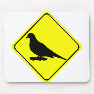 Mourning Love or Turtle Dove Caution Crossing Sign Mousepads