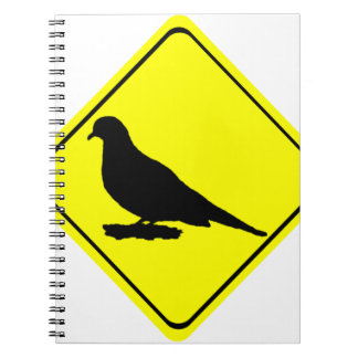 Mourning Love or Turtle Dove Caution Crossing Sign Spiral Note Books