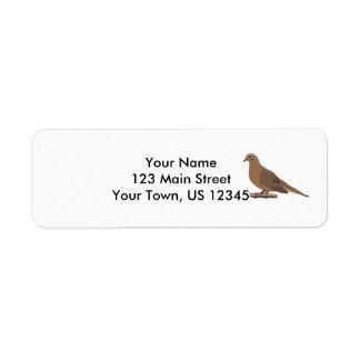 Mourning, Love or Turtle Dove Digitally Drawn Bird Return Address Label