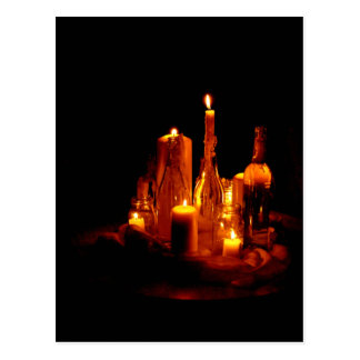 Mourning map candle light mystical greeting map postcard