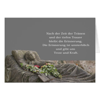 Mourning map with young woman greeting card