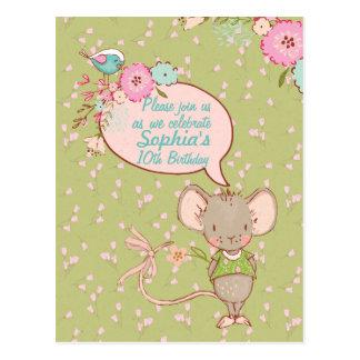 Mouse and Bird Children Birthday Invitation Postcard