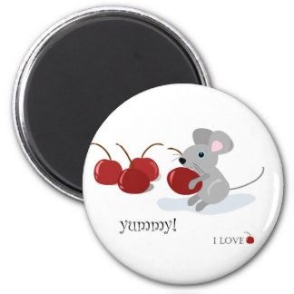 mouse and cherries magnet
