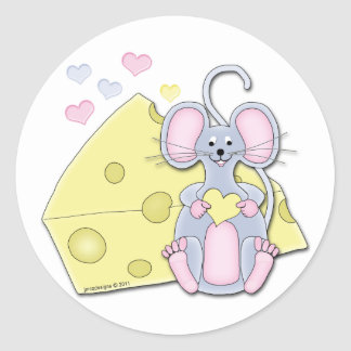 Mouse And I Love Cheese Round Sticker