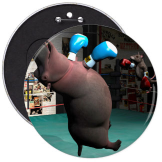 Mouse Beats Hippo KO 6 Inch Round Button