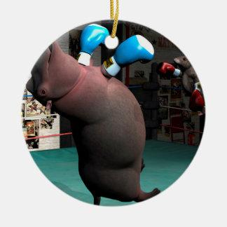Mouse Beats Hippo KO Round Ceramic Ornament