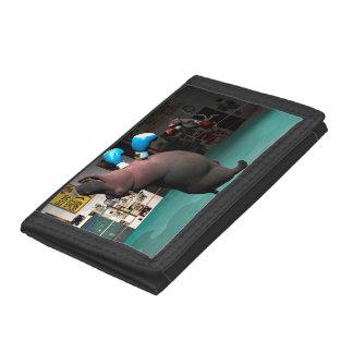 Mouse Beats Hippo KO Tri-fold Wallets