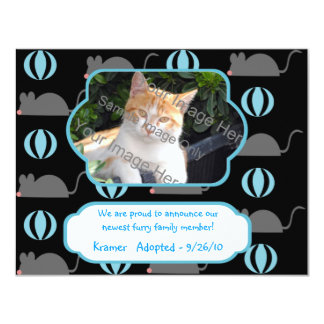 Mouse Boy Cat Adoption Photo Announcement Cards