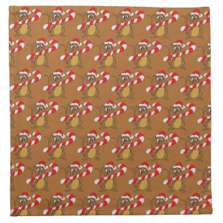 Mouse/Candy Cane Brown Cloth Napkin