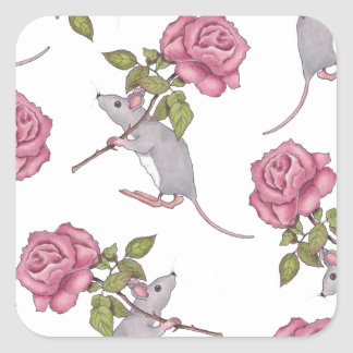 Mouse Carrying a Pink Rose, Random Pattern, Art Square Sticker