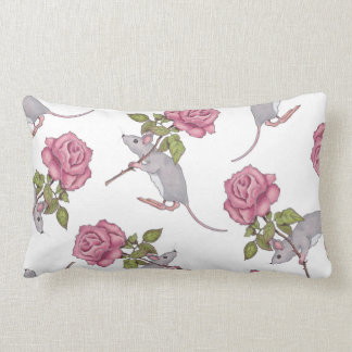 Mouse Carrying a Pink Rose, Random Pattern, Art Throw Pillow