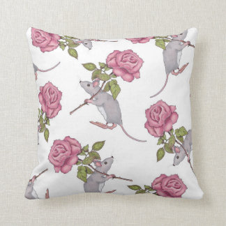 Mouse Carrying a Pink Rose, Random Pattern, Art Throw Pillows