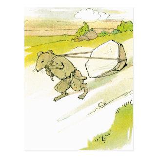 Mouse Dragging Big Rock Postcard