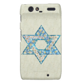 Mouse-Drawn Gem Decorated Star Of David Motorola Droid RAZR Cover