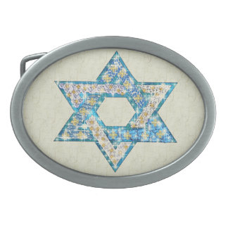 Mouse Drawn Gem Decorated Star Of David Oval Belt Buckles
