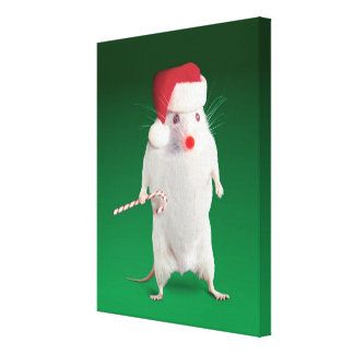 Mouse dressed as Santa Claus Gallery Wrap Canvas