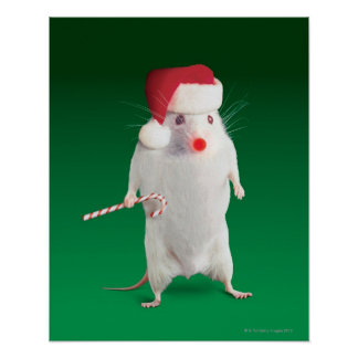 Mouse dressed as Santa Claus Poster