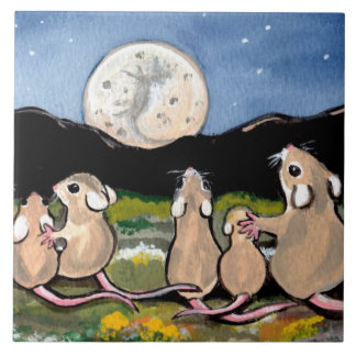 """Mouse Family Watching Moon 6"""" Tile Trivet"""