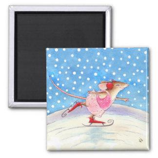 Mouse figure skater magnet