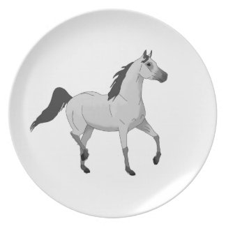 Mouse Grey Arabian Horse Trotting and Prancing Party Plate