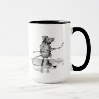 Mouse Holding Hockey Stick: Pencil Drawing Mug