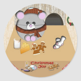 Mouse house Christmas Classic Round Sticker
