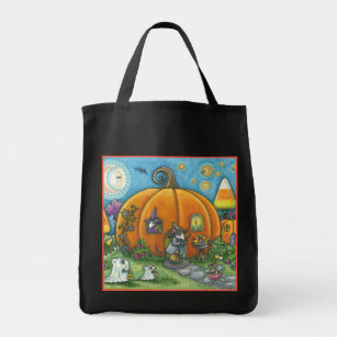MOUSE HOUSE, TRICK OR TREAT HALLOWEEN TOTE BAG