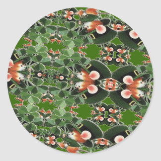 Mouse in Clover Kaleidoscope St. Patrick's Day Round Sticker
