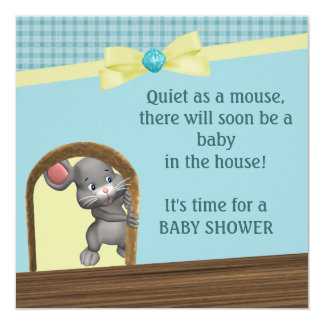 Mouse In House Baby Shower, Green & Yellow Card