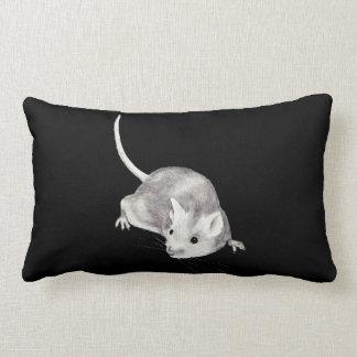 Mouse in Pencil:  Realism Pencil Drawing Lumbar Pillow