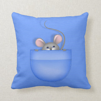 Mouse in Pocket Throw Pillow