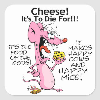 Mouse Loves Cheese Square Sticker
