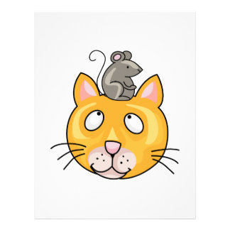 Mouse on cats Head Customized Letterhead