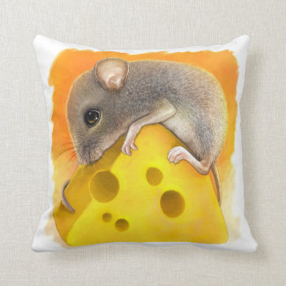 Mouse on cheese realistic painting throw pillow