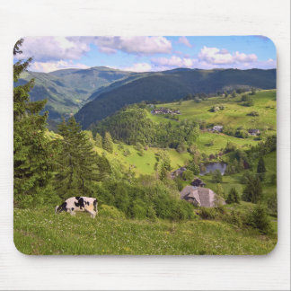 Mouse pad: Meadows and a cow with panorama view Mouse Pad